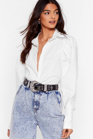 White Collar At You Diamante Puff Sleeve Shirt