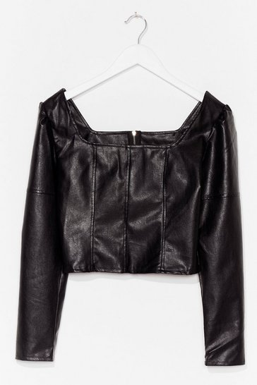 Black Faux Leather Say Faux Leather Crop Top