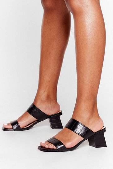 Black Slant Be Stopped Low Block Mules