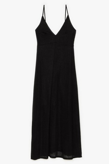Black Let's Knit the Beach Relaxed Maxi Dress