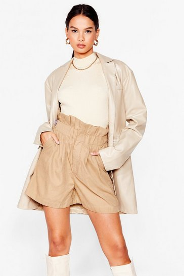 Stone Paperbag Waist High-Waisted Shorts