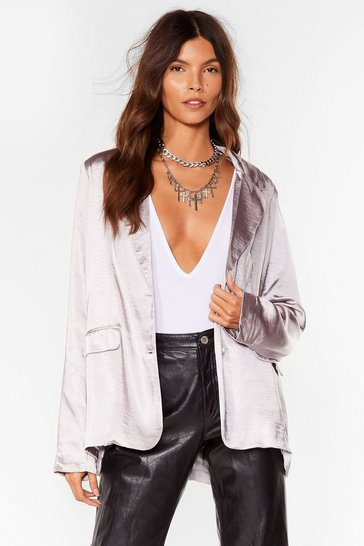 Silver Business Meets Pleasure Satin Relaxed Blazer