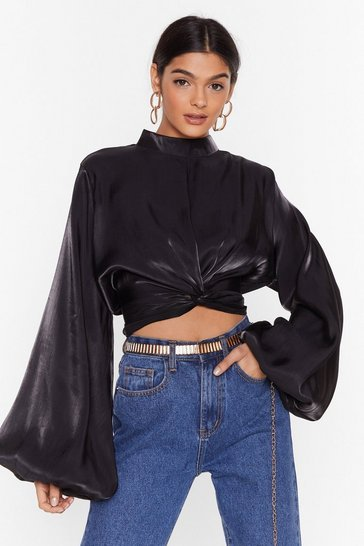 Black Sleek Love Satin Cropped Blouse
