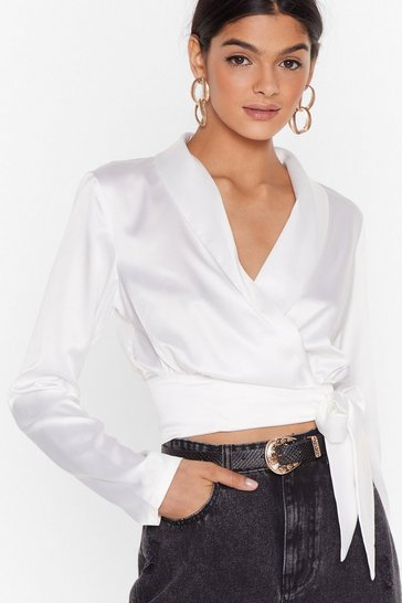 White Seven Days a Sleek Satin Cropped Blouse