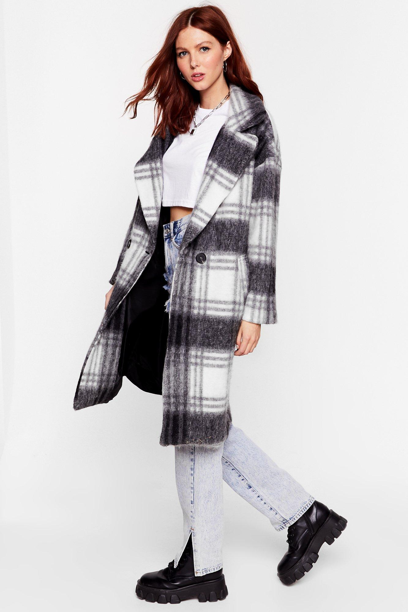 Sorry Just in a Brushed Oversized Check Coat | Nasty Gal