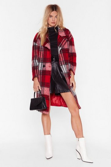 Red Sorry Just in a Brushed Oversized Check Coat