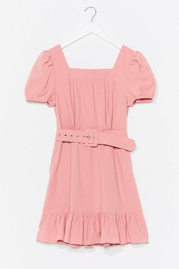 Rose Belt Foot Forward Puff Sleeve Mini Dress