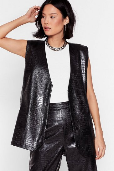 Black Head Backstage Faux Leather Croc Vest