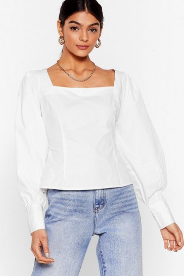 White You Know We Square Puff Sleeve Blouse