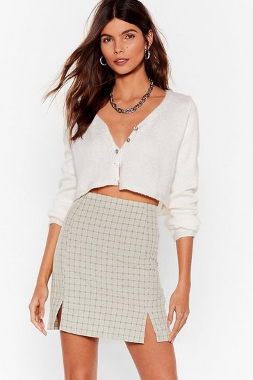 Sage Check On Your Friends Slit Mini Skirt