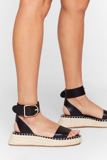 Black Still Don't Give a Buck-le Woven Platform Sandals