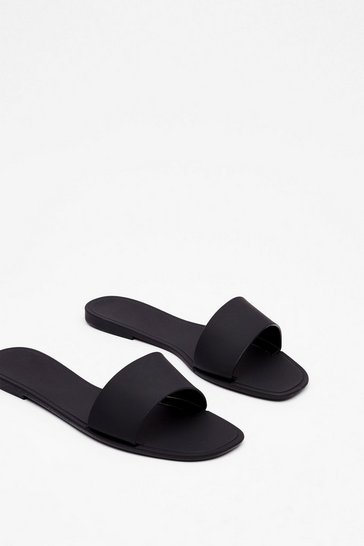 Black Faux Leather Square Toe Sliders