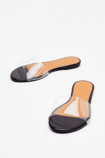 Black Simple as That Clear Flat Sandals