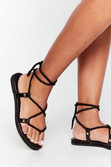 Black Reel 'Em in Rope Tie Sandals