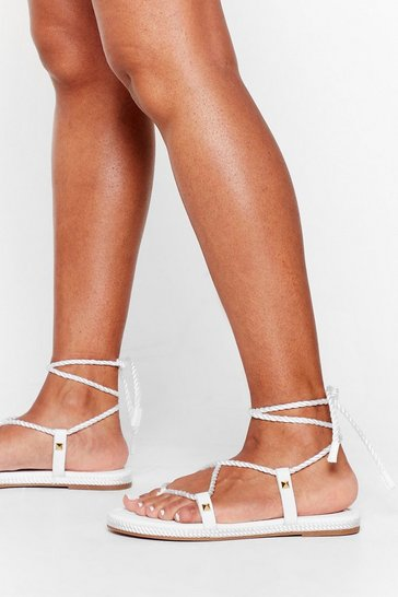White Reel 'Em in Rope Tie Sandals