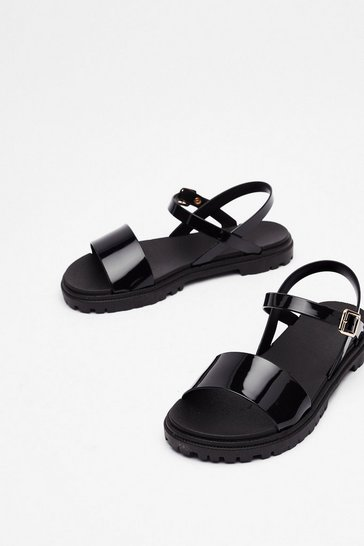 Black The Cleat is On Faux Leather Strappy Sandals