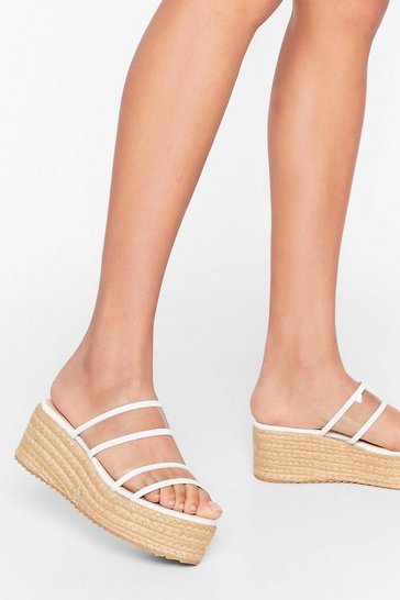 White Do We Make Ourselves Clear Woven Platform Sandals