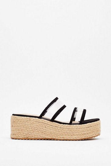 Black We've Woven to Stay Clear Platform Mules