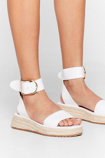 White Still Don't Give a Buck-le Woven Platform Sandals