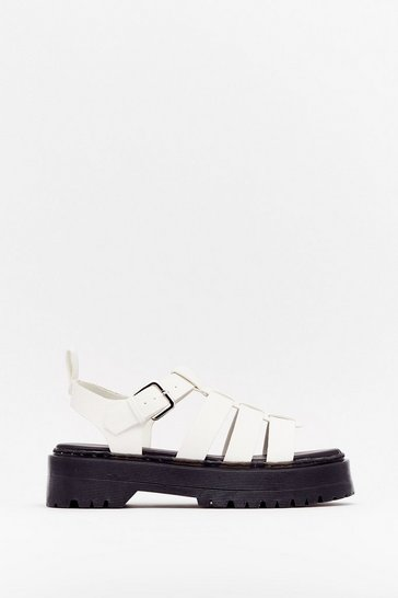 White Rattle Their Cage Strappy Platform Sandals