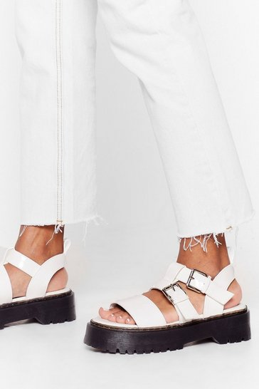 White Strapped in Cleated Platform Sandals