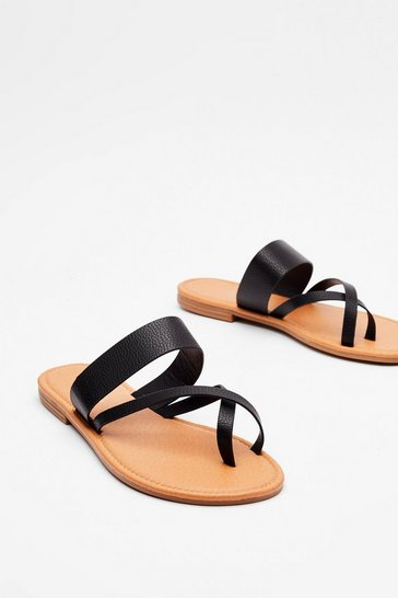 Black Up Toe Something Faux Leather Flat Sandals