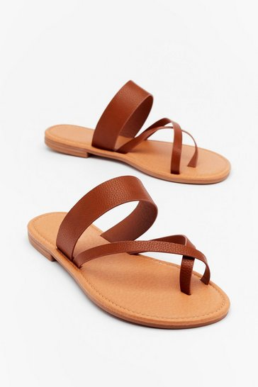 Tan Up Toe Something Faux Leather Flat Sandals