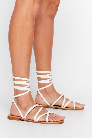 White Get Grounded Strappy Tie Sandals