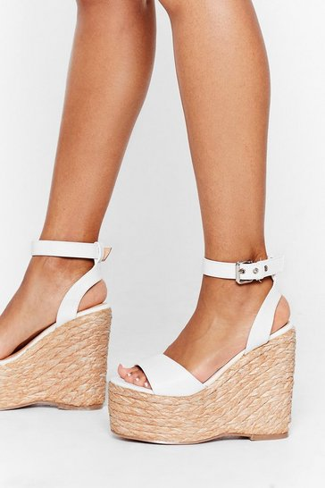 White Every Step We Take Woven Wedge Sandals
