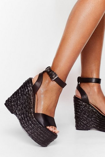 Black Big Talk Woven Platform Wedges