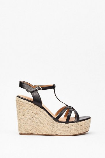 Black Step Back Woven Strappy Wedges
