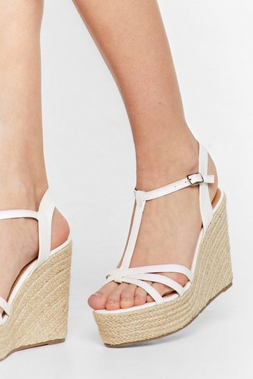 White Step Back Woven Strappy Wedges