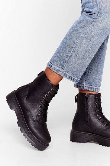 Black Eyelet It Go Lace-Up Cleated Boots