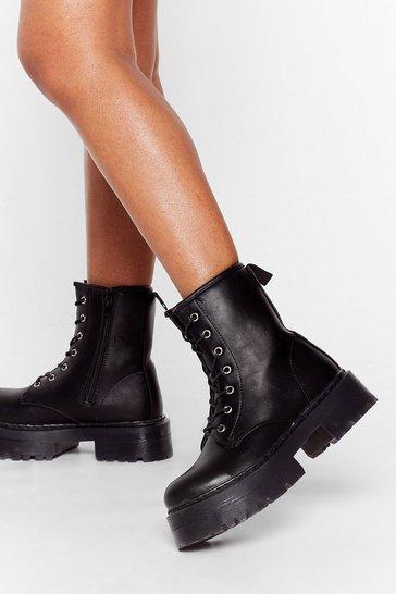 Black Hit the Road Lace-Up Platform Boots
