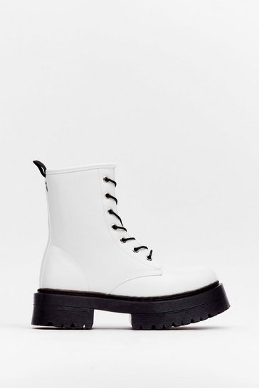 White Don't Give Lace-Up Faux Leather Hiker Boots