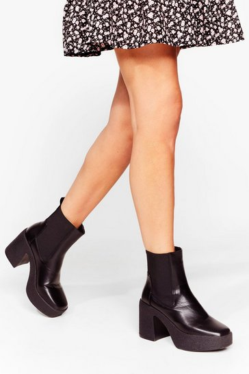 White Platform a Line Faux Leather Chunky Boots