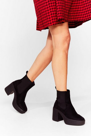 Black Long Live Sock and Roll Faux Suede Chelsea Boots