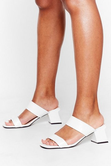 White Slant Be Stopped Faux Leather Low Block Mules