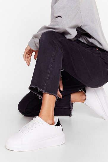 White Your Time to Shine Faux Leather Sneakers