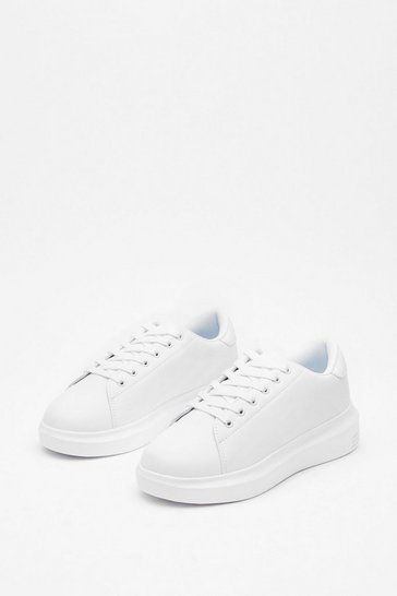 White Just Run With It Faux Leather Sneakers