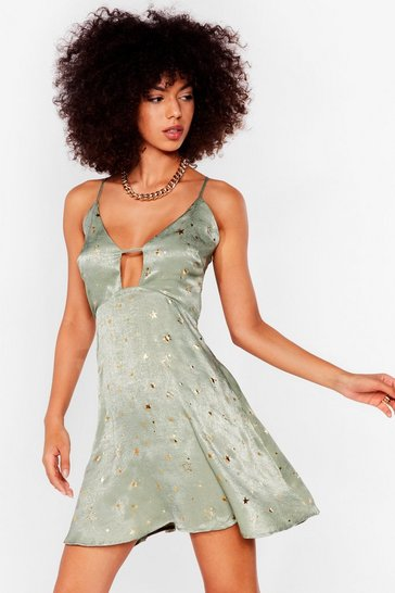 Sage Star Crossed Lovers Satin Mini Dress