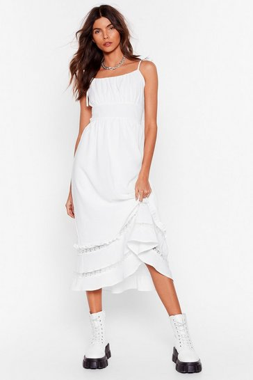 Ivory Lace Talk Ruffle Midi Dress