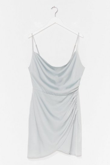 Pale blue Cowl Sweet It is Satin Mini Dress