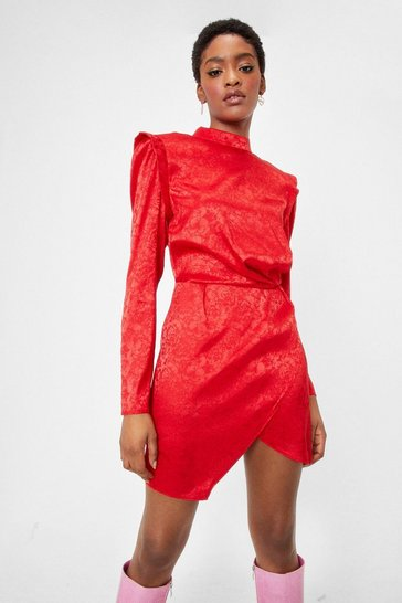 Red Power Dressing Jacquard Mini Dress