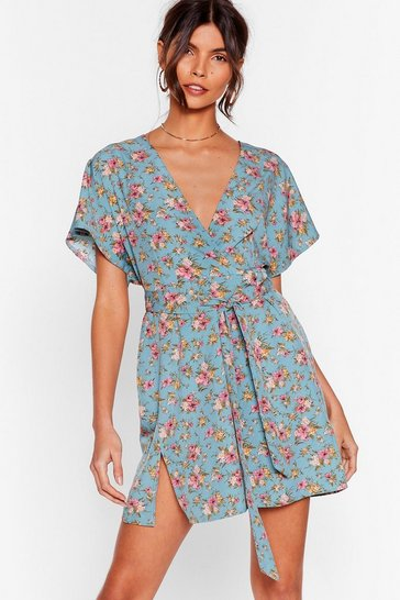Blue Call in Slick Floral Mini Dress