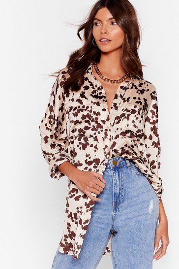 Beige Just Cow We Like It Satin Longline Shirt