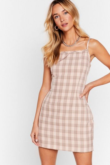 Nude Ready Check Go Square Neck Mini Dress