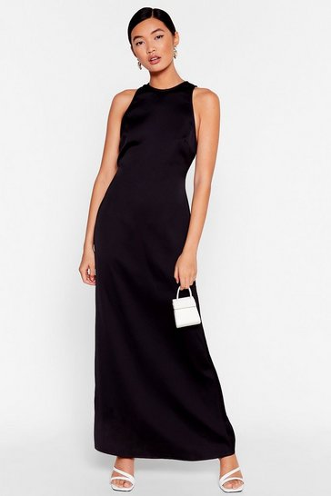 Black Sleek to You Later Satin Maxi Dress