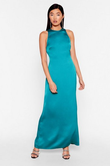 Teal Sleek to You Later Satin Maxi Dress