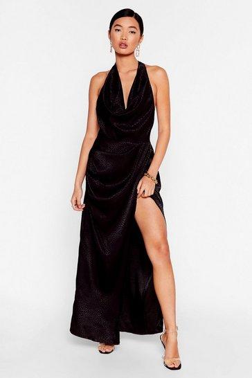 Black Cowling All Stars Jacquard Maxi Dress